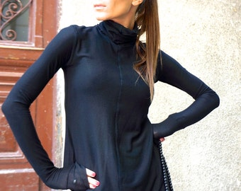 NEW Tencil Sexy Black Turtle neck Top / Exclusive Soft Tencil Fabric / New Generation Fibre by AAKASHA A08396