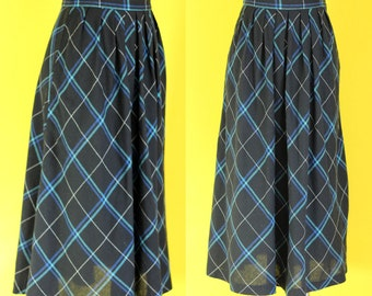 Vintage 70s Blue Plaid Skirt - High Waisted Pleated Skirt - Midi Skirt with Pockets - Black Skirt - Winter Skirt - Long Skirt - Size Small