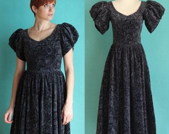 Vintage 80s Party Dress - Black Velvet Dress - Laura Ashley Floral Dress - Formal Full Skirt Dress - Long Puffy Sleeve Dress - Holiday Dress