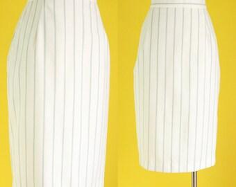 Vintage 80s Striped Skirt - Pencil Skirt with Pockets - High Waisted Skirt - Mint Skirt - Knee Length Office Skirt - Size Medium
