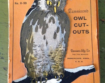 Vintage Halloween Dennison Complete Box of 6 Owl Cut Outs Halloween Display Decor 1920s Old Collectible Paper Ephemera
