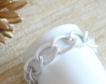 "Silver Chunky Chain Bracelet 7.5"""
