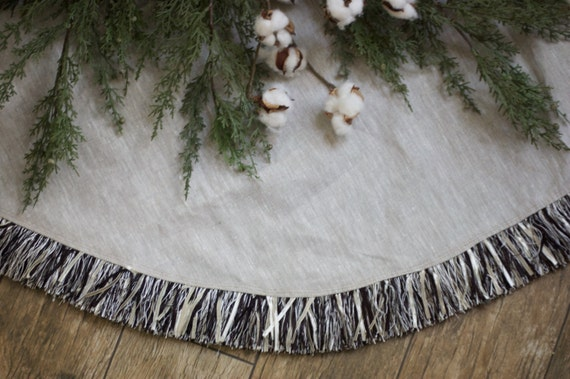 Christmas Tree Skirt Natural Linen Black By TheBurlapCottage