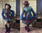Ready to Ship OOAK Gypsy Boho Kimono Organic Hemp and Cotton Blend Dyed with Herbs