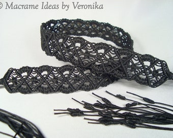 Macrame Belt «NIGHT SERENADE», knotted of waxed cord, Made To Order