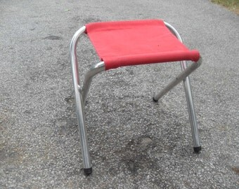 Aluminum Framed Stool Seating, Folding Stool, Camping Chair, Vintage Camping, Set of 4