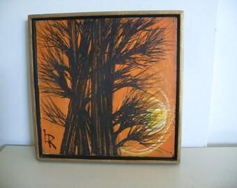 """Vintage Mid Century  Modern Oil on Canvas Painting  Signed """"LR"""",Vintage Wall Art"""