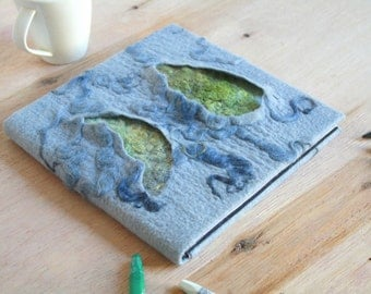 Unique felt journal Art journal Felted notebook Soft cover diary Felted album Refillable journal Pixie album Wedding album OOAK gift