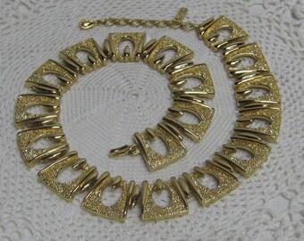 Vintage Monet Goldtone Bib Choker Necklace Shiny & Textured Metal