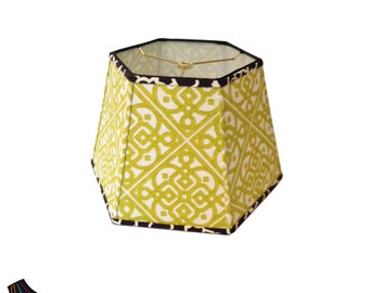 Large Lamp Shade: Hexagon Lamp Shades, Large Lamp Shades, Green Lamp Shades, Designer Lamp Shades, Unique Lamp Shades, Handmade Lamp Shades
