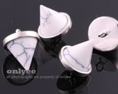 2pcs-10mmX12mmBright Rhodium plated Brass Gemstone Triangle Cone (Large) for Connector, pendants,charms-Howlite(M406GS-A)