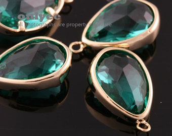 2pcs-17mmX10.5mBright Gold Faceted NEW Style Tear Drop With Glass pendants-Emerald(M395G-G)