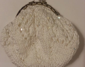 Small Beaded Knit Clutch Purse
