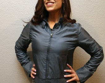 Vintage Women's Grey Size Small Converse Windbreaker/ Retro Gray Converse One Star Jacket
