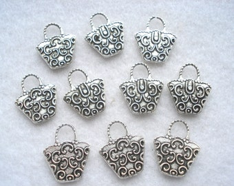 14mm x 16mm Silver Tone Handbag Shape Charms Pack of 15 Silver Handbag Pendant C42