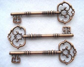 8cm Large Fancy Keys Antique Bronze Pack of 3 Ornamental Key Charms C47 Secret Santa Keys