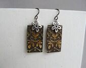 Vintaj Embossed Brass Earrings.  Silver and Brass.  Hypoallergenic earrings.