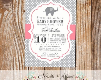 Gray and Pink Polka Dot Elephant Modern Baby Shower Birthday Invitation - colors can be changed