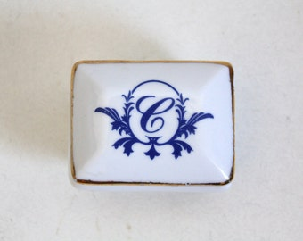SALE 50 OFF Monogram Vintage Trinket Box Porcelain Letter C Jewelry Box Gift Idea Shabby Chic Monogramed Box