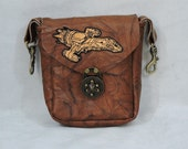 Brown Leather Clip Bag, Hip Pouch, Belt Loop Bag, Sporran, Purse With Serenity Firefly Patch