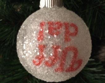 UFF DA!! glass glitter ornament