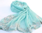 Light Blue Silk Chiffon Embroidered Shawl, Beaded Evening Wrap, Silk Scarves, Sequin Stole, Blue Wedding Accessories, Sheer Scarves
