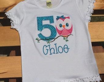 Owl birthday, birthday shirt, birthday shirt with name, birthday shirt with number, owl theme