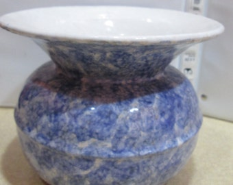Antique Spittoon Spongeware Stoneware Blue & White