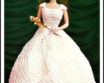 Vintage 80s Fashion Doll Dress Crochet Pattern - PDF Instant Download