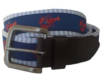 Red Lobster Nautical Leather Belt / Leather Belt / Canvas Belt /Preppy Webbing Belt for Men, Women and Children/Lobster with Blue Seersucker