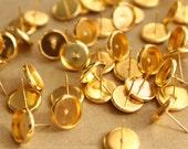30 pc. 10mm Ear Post Blank Cabochon Setting Gold, Nickel Free   FI-229
