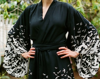 "Gaia Awakens. One custom black ""Noguchi"" kimono robe in a very soft rayon fabric Dressing gown with pockets Long womens robe Gift for her"
