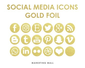 Gold Foil Social Media Icons, Social Media Buttons, Gold Social Icons, Blog Icons, Website Branding, Blog Buttons, Gold Foil Icons