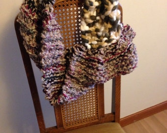 Chunky knit cowl neck scarf