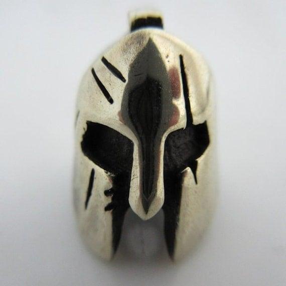 spartan helmet lanyard paracord leather bead in german silver