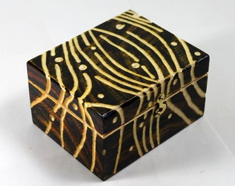 Wood box, carved and painted