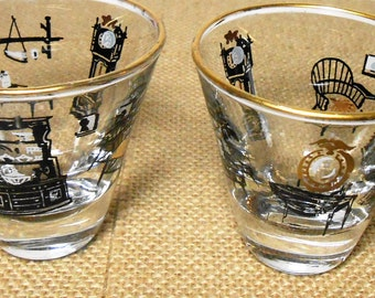 Vintage Shot Glass, Furniture, Shot Glass, Barware, Glass, Brandy Snifter, 1950's, Set of Two, Bar Ware