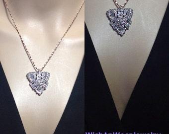 Vintage 30s Art Deco Rhinestone Repurposed Dress Clip Pendant Necklace Silver Pretty Rose Gold Chain Boho Downton Abbey Retro One of a Kind