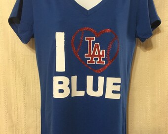 Los Angeles DODGERS baseball shirt, I love LA blue, LA Dodgers inspired shirt, V Neck Tee  fitted or relaxed, tank top, Dodgers Woman shirt