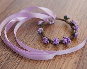 LILAC Boho Floral Rose Garland -- for HAIR BUNS