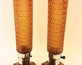 Art Deco Skyscraper Lamps Pressed Amber Glass