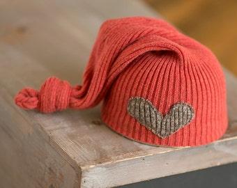 Upcycled Newborn Hat READY TO SHIP Orange & Brown Hat with Heart Stocking Cap Elf Hat Photography Prop Newborn Boy Hat Neutral Newborn Cap