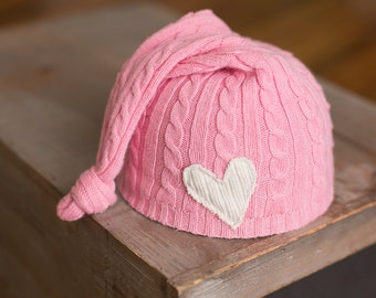 Upcycled Hat Pink Girls Cable Knit Newborn Hat with Cream Heart newborn photography prop READY TO SHIP Newborn girl hats