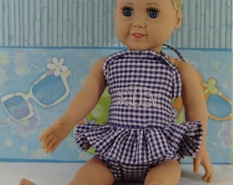 "18"" doll clothing, monogrammed swimsuit, seersucker bathing suit, gingham bathing suit, monogram, doll clothes, doll dress, girl doll"