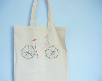 Embroidered bicycle tote bag - Stitched bike bag - Can be personalised