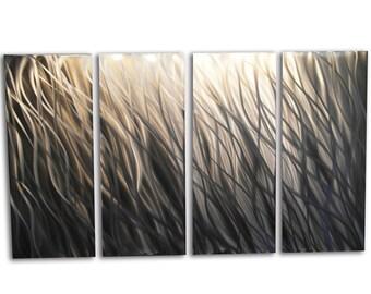 Metal Wall Art Decor Aluminum Abstract Contemporary Modern Sculpture Hanging Zen Textured - Silver Reef 36x63