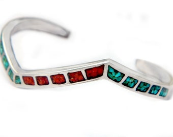 Old Pawn Navajo Chevron 925 Cuff Bracelet Turquoise Coral Sterling Vintage Native American Stone Inlay With Tool Marks Southwestern Cuff