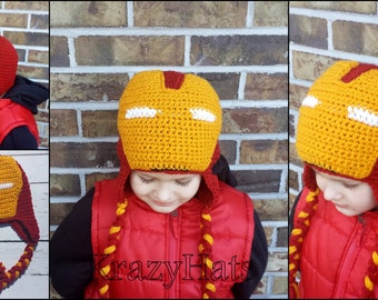 Crochet Iron man hat.Super hero hat.