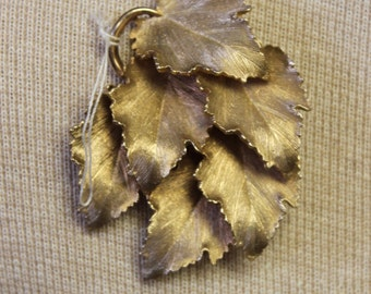 Large signed Brooch with layered leaves