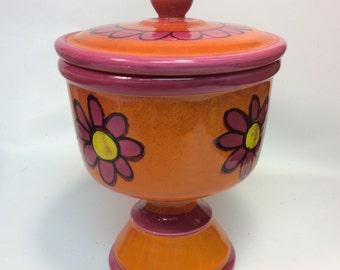 Mod Ceramic Floral Pedestal Jar